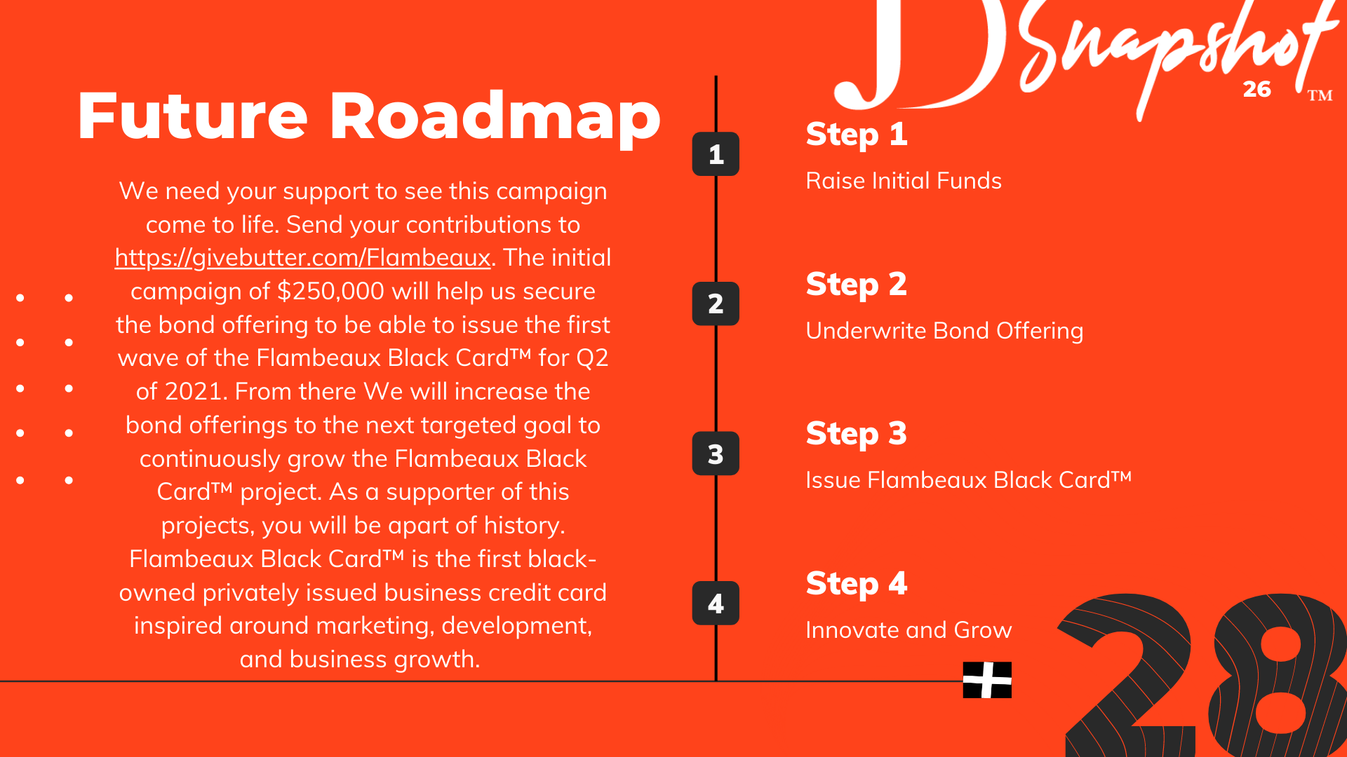Future Roadmap | We need your support to see this campaign come to life. Send your contributions to https://givebutter.com/Flambeaux. The initial campaign of $250,000 will help us secure the bond offering to be able to issue the first wave of the Flambeaux Black Card™ for Q2 of 2021. From there We will increase the bond offerings to the next targeted goal to continuously grow the Flambeaux Black Card™ project. As a supporter of this projects, you will be apart of history. Flambeaux Black Card™ is the first black-owned privately issued business credit card inspired around marketing, development, and business growth. | Step 1 - Raise Initial Funds | Step 2 - Underwrite Bond Offering | Step 3 - Issue Flambeaux Black Card™ | Step 4 - Innovate and Grow