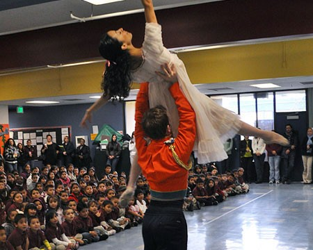 OBC dancers performing at a local school as part of our Nutcracker Assembly Program