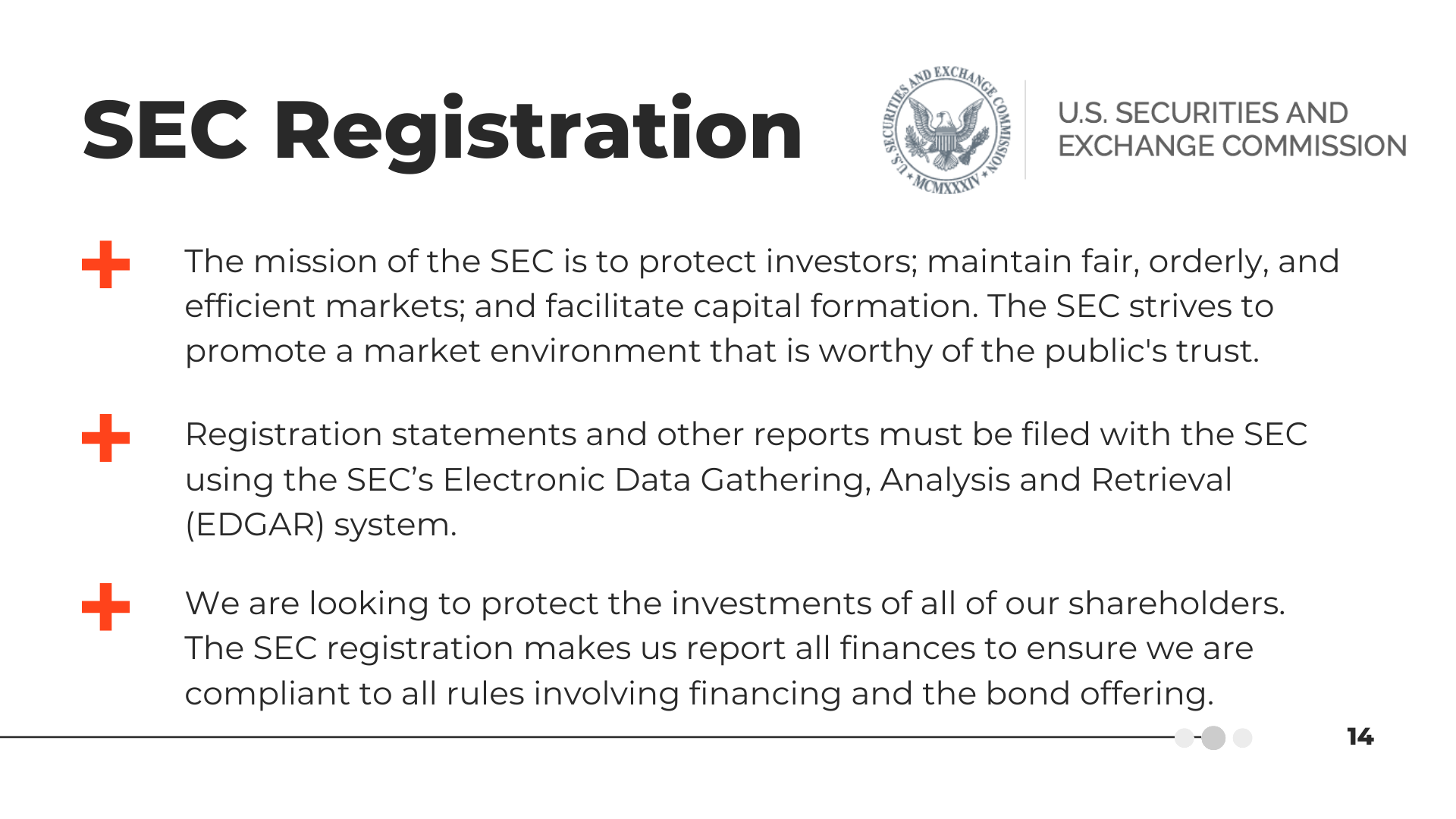 SEC Registration | The mission of the SEC is to protect investors; maintain fair, orderly, and efficient markets; and facilitate capital formation. The SEC strives to promote a market environment that is worthy of the public's trust. | Registration statements and other reports must be filed with the SEC using the SEC's Electronic Data Gathering, Analysis, and Retrieval (EDGAR) system. | We are looking to protect the investments of all of our shareholders. The SEC registration makes us report all finances to ensure we are compliant with all rules involving financing and the bond offering.