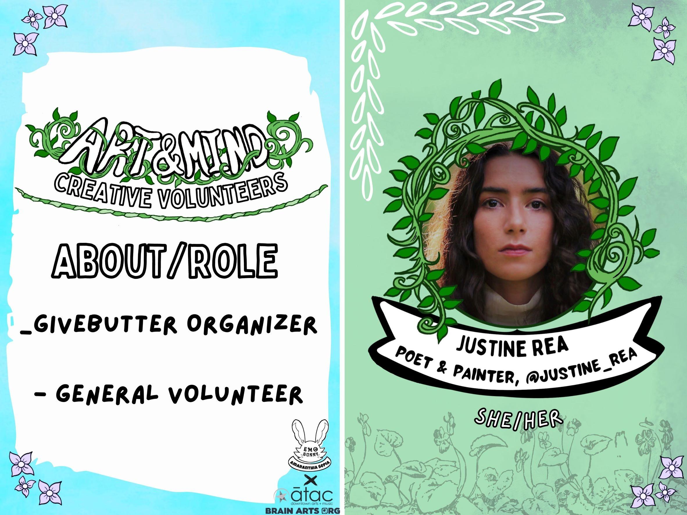 Creative Volunteer: GiveButter Organizer and General volunteer @Justine_rea