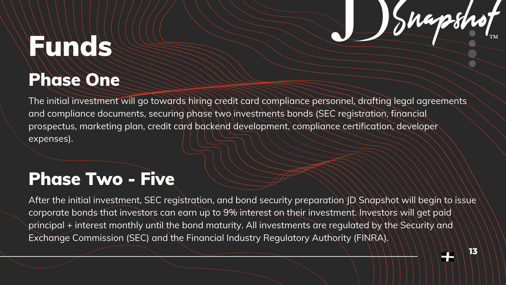 Funds | Phase One - The initial investment will go towards hiring credit card compliance personnel, drafting legal agreements and compliance documents, securing phase two investments bonds (SEC registration, financial prospectus, marketing plan, credit card backend development, compliance certification, developer expenses). Phase Two - Five - After the initial investment, SEC registration, and bond security preparation JD Snapshot will begin to issue corporate bonds that investors can earn up to 9% interest on their investment. Investors will get paid principal + interest monthly until the bond maturity. All investments are regulated by the Security and Exchange Commission (SEC) and the Financial Industry Regulatory Authority (FINRA).